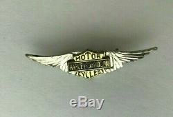 Rare Vintage 20s- 50s Argent Harley Davidson Ailes Pin Bar Shield Motorcycle USA
