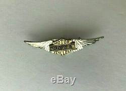 Rare Vintage 20s- 50s Argent Harley Davidson Ailes Pin Bar Shield Motorcycle USA
