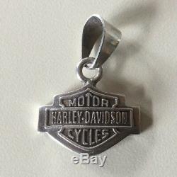 Rare Vintage Harley-davidson Bar & Shield 1/2 Oz. Argent Charm