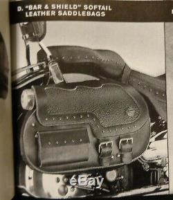 Rare Vtg Bar Harley Davidson Et Bouclier Softail Cuir Saddlebags Flstc Fxstsb