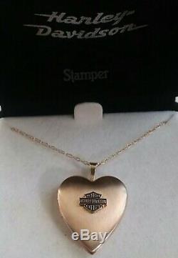 Stamper 14k Solid Gold Harley Davidson Bar & Shield Coeur Médaillon / Collier