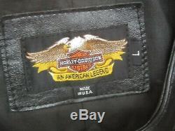 Taille Veste En Cuir Véritable Harley Road King V-logo L Grand Noir, Bar & Shield