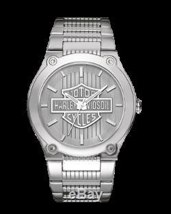 Tout Neuf Montre Homme Harley-davidson Bar & Shield Hommes Poignet D'argent Montre 76a134