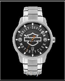 Tout Neuf Montre Homme Harley-davidson Open Bar Men & Silver Shield Montre 76b182