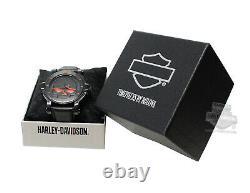 Toute Nouvelle Montre En Cuir Harley-davidson Ghost Bar Shield 76b163 Pour Homme Bulova