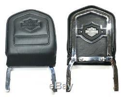 Ultra Rare Harley Dyna Bar & Shield Brodé Bar En Cuir Et Sissy Dossier