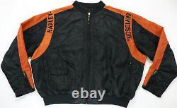 Unisex Harley Davidson Veste De Course XL Nylon Orange Noir Bar Bouclier Zip Up