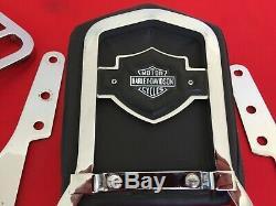 Véritable 1982-1994 Harley Fxr Bar & Shield Sissy Bar Pad Dossier + Porte-bagages