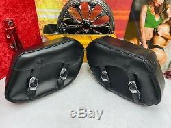 Véritable Harley Bar & Shield Oem Dyna Fxd Fxdl Saddlebags En Cuir Véritable