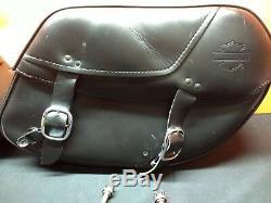 Véritable Harley-davidson Dyna 2002-17 Fxd Bar & Shield En Cuir Rigide Saddlebag
