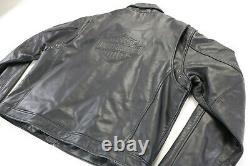 Veste Bomber En Cuir Harley Davidson Homme 2xl Bouclier De Barre En Relief Noir Matelassé