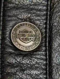 Veste Chemise En Cuir Harley Davidson Homme L Black Bar Shield Snap Biker Rare