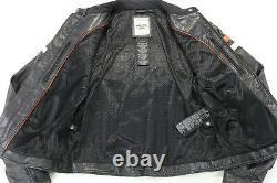 Veste En Cuir Harley Davidson Femme M Miss Enthusiast Bouclier De Barre Orange Noir