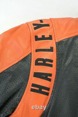 Veste En Cuir Harley Davidson Homme 3xl Orange Noir Perforé Bar Shield Zip
