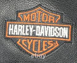 Veste En Cuir Harley Davidson Homme 3xl Stock 98112-06vm Fermeture Éclair Bouclier Barre Noire