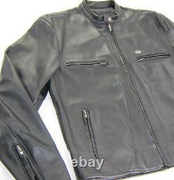 Veste En Cuir Harley Davidson Vintage Pour Homme XL Black Café Skins Basic Skins Bar Shield