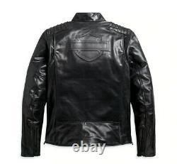 Veste En Cuir Noir Harley Davidson Pour Homme -bouclier L 98047-19vm