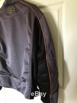 Veste Harley Davidson Maille XL Gris Noir Orange Maille Blindage Bar Bouclier Zip