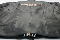 Veste Noire L Classique Armure Bouclier Barre 98153-09vw Zip En Cuir Harley Davidson