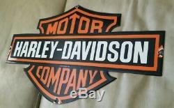 Vintage Harley Davidson 1954 Porcelaine Signe Bar Et Le Bouclier Grand