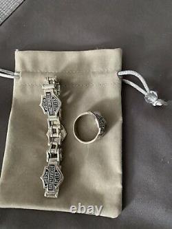 Vintage Harley Davidson Bar&shield Sterling Bracelet Argent 10 Heavy Ring Set