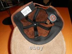 Vintage Harley Davidson Barre Ailée Et Bouclier En Cuir Brun Casquette De Baseball Rare/htf