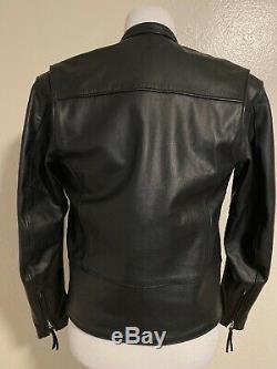Vintage Harley Davidson En Cuir Noir De Base Skins Bar Shield Jacket Petit Euc