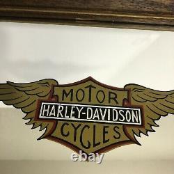 Vintage Harley Davidson Miroir Mural Bar Et Bouclier Avec Ailes