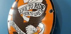 Vintage Harley Davidson Moto Porcelaine Gaz Bike Bar Shield Bald Eagle Signe