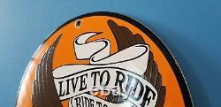 Vintage Harley Davidson Motorcycle Porcelain Gas Bike Bar Shield Bald Eagle Signe