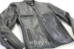 Vintage Homme Harley Davidson Veste En Cuir S Noir Café De Base Skins Bar Bouclier