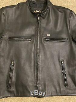Vintage Hommes Harley Davidson Veste En Cuir L Café Noir Basic Skins Bar Shield