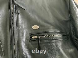 Vintage Hommes Harley Davidson Veste En Cuir M Black Cafe Basiques Skins Bar Shield