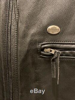 Vintage Hommes Harley Davidson Veste En Cuir XL Café Noir Basic Skins Bar Shield