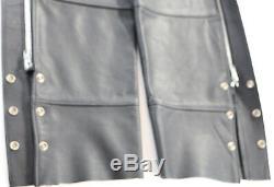 Vintage USA Des Femmes De Chaps En Cuir Harley Davidson M Bouclier Barre Noire Zip Évidée