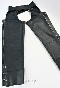 Vintage USA Femmes Harley Davidson Cuir Chaps M Barre Noire Bouclier Zip Doublé