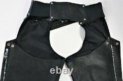 Vintage USA Femmes Harley Davidson En Cuir Chaps S Noir Barre Bouclier Zip Doublé