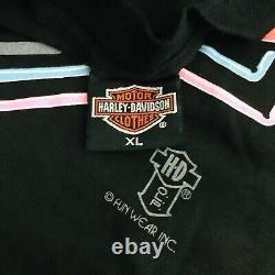 Vtg 80s Neon Harley Davidson Bar & Shield Signe T-shirt Big Bike Shop Ohio XL Tee