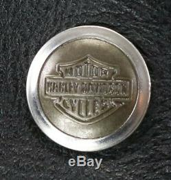 Vtg Des Femmes De Cuir Harley Davidson Veste XL Noir De Base Skins Snap Shield Bar Nwt