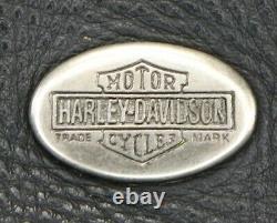 Vtg Mens Cuir Harley Davidson Gilet Peau De Base L Noir Bouclier Barre De Pression Du Pilote