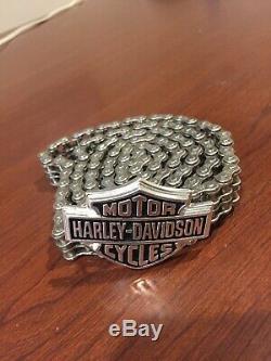 Vtg & Rare Chaîne Primaire Chrome Harley Davidson Ceinture Biker Sz 40 Bar & Shield