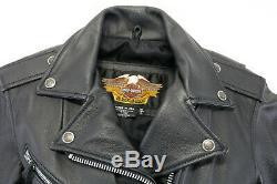 Womens Harley Veste En Cuir Davidson De Peaux De Base Noir À Double Fermeture Éclair Bouclier De Bar
