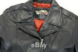 Womens Harley Veste En Cuir Davidson Noir Fougueux Crampons XL Cloutés Bouclier Bar