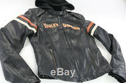 Womens Harley Veste En Cuir Davidson S Mlle Passionné De Bouclier Barre Noire Orange