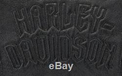 Womens Harley Veste En Cuir Davidson XL Bouclier Noir De Barre Réfléchissante Perforée