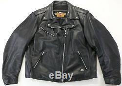 Womens Harley Veste En Cuir Davidson XL Peaux De Base Noir À Double Fermeture Éclair Bouclier Bar