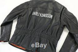 Womens Harley Veste En Cuir Davison Xs Bouclier Barre Noire Doublure Café Doux Zip Guc