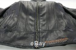 Womens Harley Veste En Cuir M Davidson Cuivre Noir 105e 97105-08vw Bouclier Bar