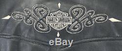 Womens Harley Veste En Cuir Noir L Davidson 97015-04vw Dentelle Zip Bouclier Barre Vers Le Haut