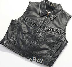 Womens Harley Veste Veste En Cuir Noir Davidson L Zip Jusqu'à Bouclier Bar Sans Manches